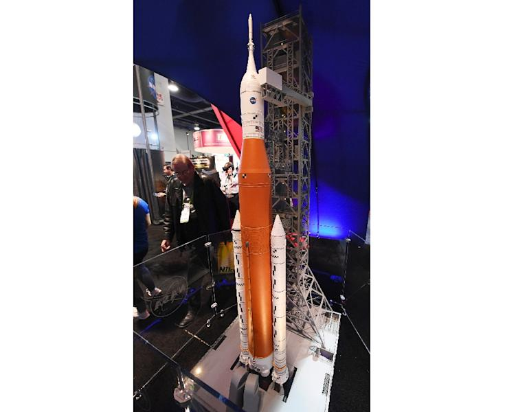 Scale model of NASA's Space Launch System (SLS) rocket that was scheduled to launch in 2020, until NASA recently announced it would not be ready in time (AFP Photo/Ethan Miller)