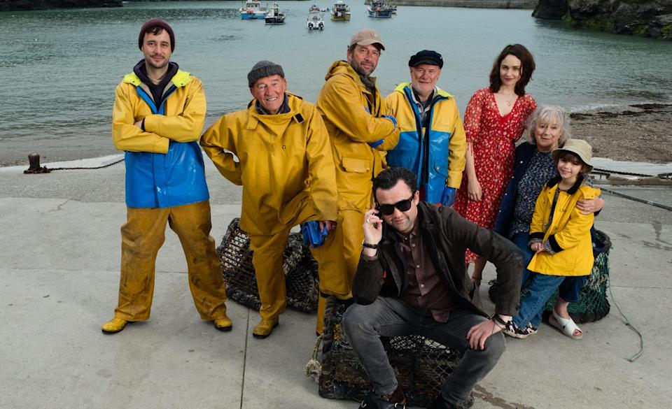 The cast of Fisherman's Friends, including Daniel Mays, Tuppence Middleton and James Purefoy (Credit: Entertainment Film Distributors)