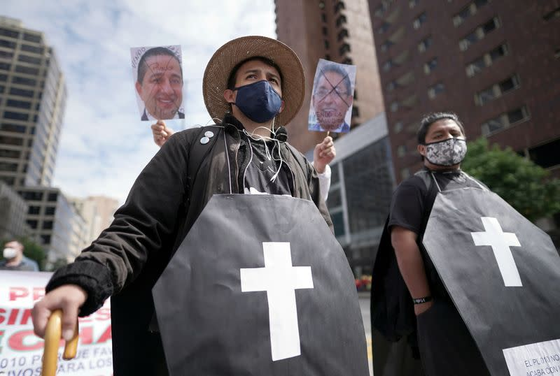 Workers and students participate in a protest against the social and economic policies of Colombia's President Ivan Duque, in Bogota