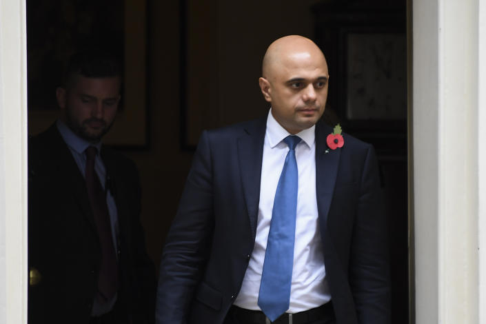 Britain's Chancellor of the Exchequer Sajid Javid leaves 10 Downing Street after attending the weekly Cabinet meeting, in London, Tuesday, Oct. 29, 2019.(AP Photo/Alberto Pezzali)