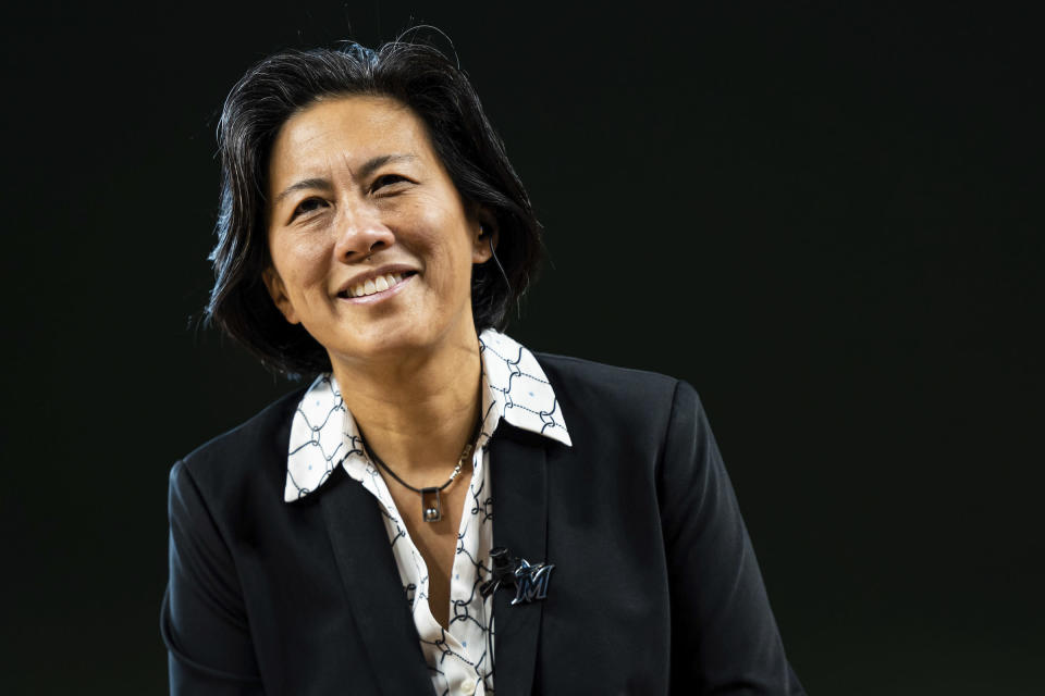 """In this Nov. 16, 2020, handout photo provided by the Miami Marlins, Marlins general manager Kim Ng is shown during an introductory press conference at Marlins Park in Miami, Fla. """"Failure is not an option for me,"""" Ng says. Billie Jean King knows it, too. The tennis Hall of Famer applauds Ng as a fellow pioneer for women, but says the role comes with pressure. (Miami Marlins/Joseph Guzy via AP)"""