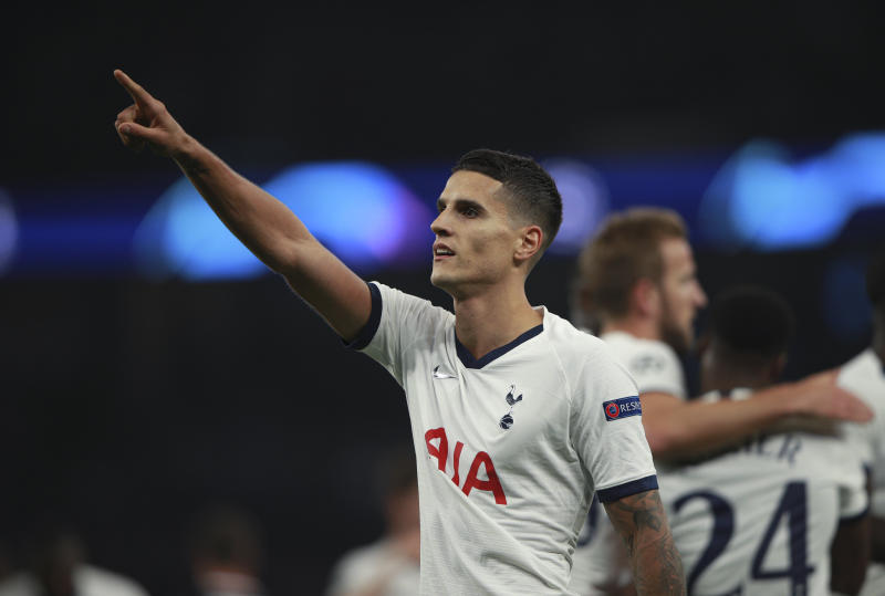 Tottenham's Erik Lamela celebrates after scoring his side's fourth goal during the Champions League, group B, soccer match between Tottenham and Red Star Belgrade, at the Tottenham Hotspur stadium in London, Tuesday, Oct. 22, 2019. (AP Photo/Ian Walton)