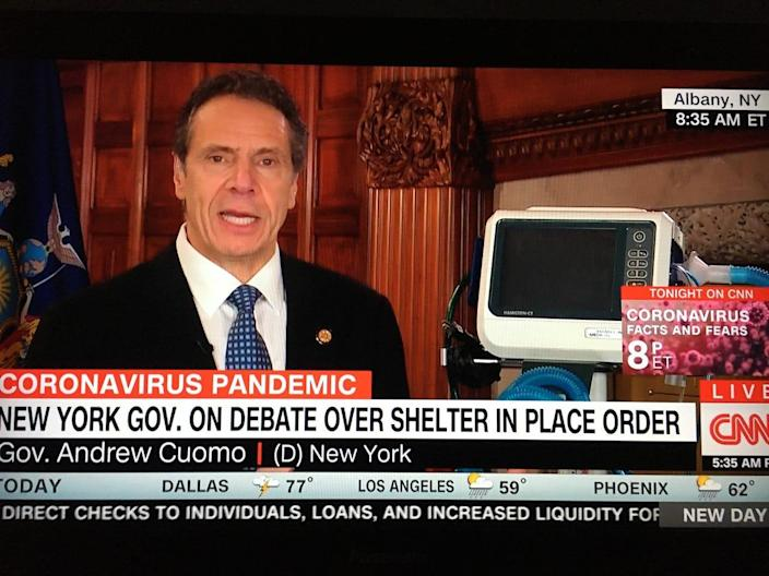 Gov. Andrew Cuomo spoke on CNN on March 19, 2020, standing next to a ventilator to urge the federal government to provide more of them to states amid the coronavirus pandemic.