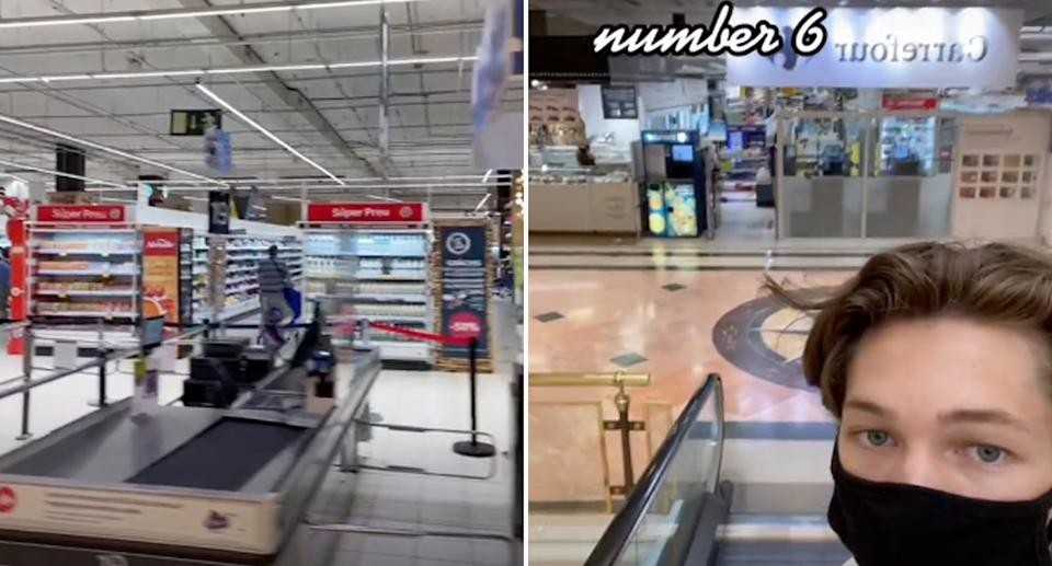 A US man was shocked to find a grocery store in a mall in Spain. Source: @damedamian/TikTok