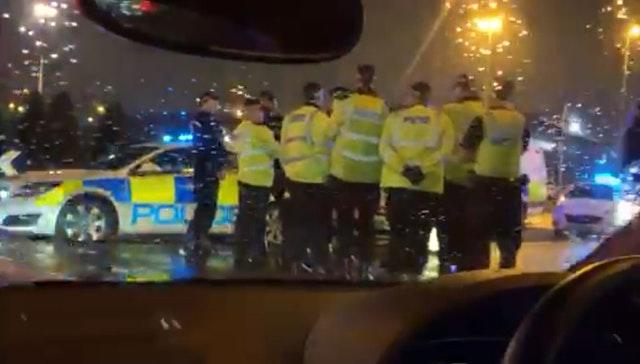 Videograb showing police officers outside the Star City cinema in Birmingham