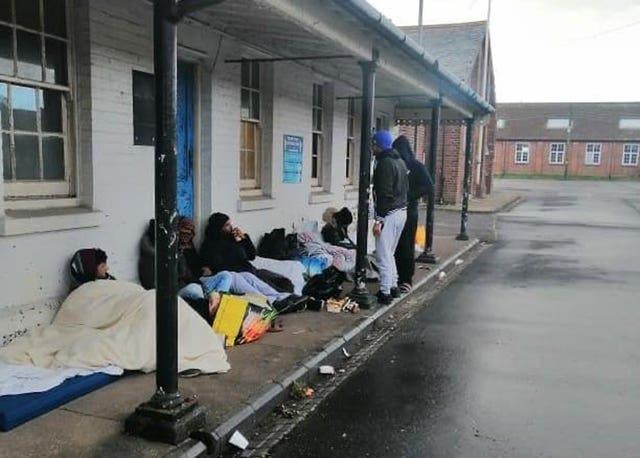Asylum seekers conducting a sleep-out overnight on Monday/Tuesday at Napier Barracks in Folkestone, Kent