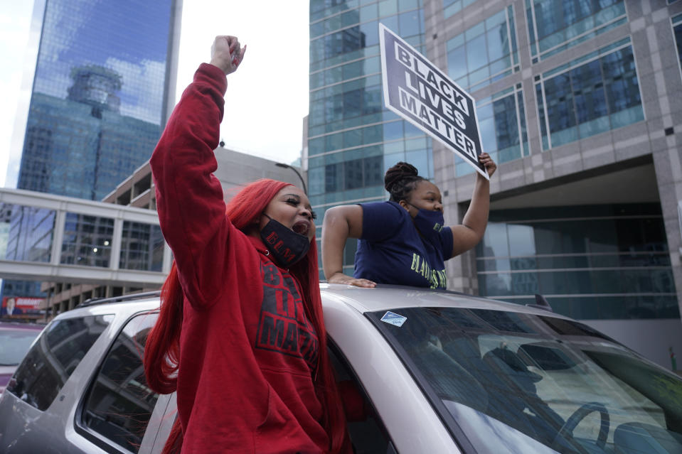People cheer after a guilty verdict was announced at the trial of former Minneapolis police Officer Derek Chauvin for the 2020 death of George Floyd, Tuesday, April 20, 2021, in Minneapolis, Minn. Former Minneapolis police Officer Derek Chauvin has been convicted of murder and manslaughter in the death of Floyd. (AP Photo/Morry Gash)