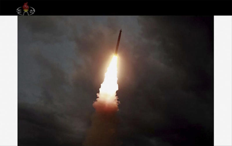 This image made from video of a still image broadcasted by North Korea's KRT on Thursday, Aug. 1, 2019, shows a rocket soaring during a test in North Korea. North Korea said Thursday, Aug. 1, leader Kim Jong Un supervised the first test firing of a new multiple rocket launcher system that could potentially enhance its ability to strike targets in South Korea and U.S. military bases there.(KRT via AP Video)