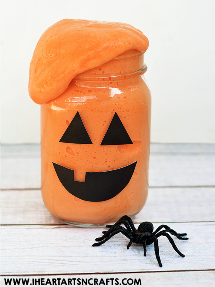 "<p>Kids can channel Frankenstein when they experiment with whipping up their own ooey-gooey slime.</p><p><strong>Get the tutorial at <a rel=""nofollow"" href=""http://www.iheartartsncrafts.com/fluffy-pumpkin-slime/"">I Heart Arts n Crafts</a>.</strong></p><p><a rel=""nofollow"" href=""https://www.amazon.com/12-Ball-Mason-Jar-Lid/dp/B014V7RSE8"">SHOP MASON JARS</a><br></p>"