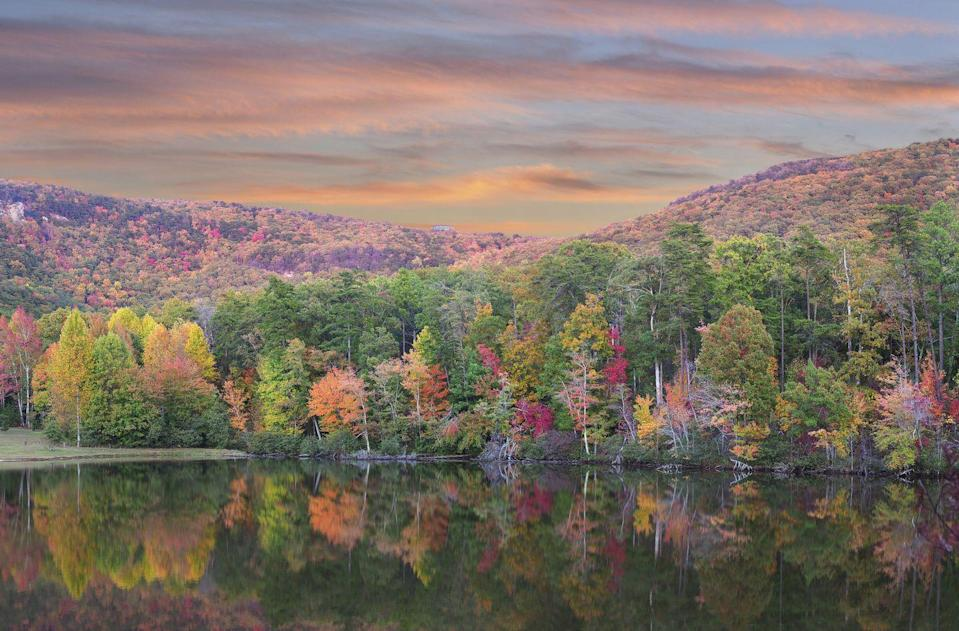 """<p>Alabama is always beautiful, but especially in the fall. What better place to view the season's glittering yellow poplars, scarlet dogwoods, orange maples, and golden hickories than from the highest point in the state? Add beautiful Cheaha State Park to your fall bucket list, ASAP! </p><p><a class=""""link rapid-noclick-resp"""" href=""""https://go.redirectingat.com?id=74968X1596630&url=https%3A%2F%2Fwww.tripadvisor.com%2FHotelsNear-g30480-d578945-Cheaha_State_Park-Delta_Alabama.html&sref=https%3A%2F%2Fwww.thepioneerwoman.com%2Fhome-lifestyle%2Fg36804013%2Fbest-places-to-see-fall-foliage%2F"""" rel=""""nofollow noopener"""" target=""""_blank"""" data-ylk=""""slk:FIND A HOTEL"""">FIND A HOTEL</a></p>"""