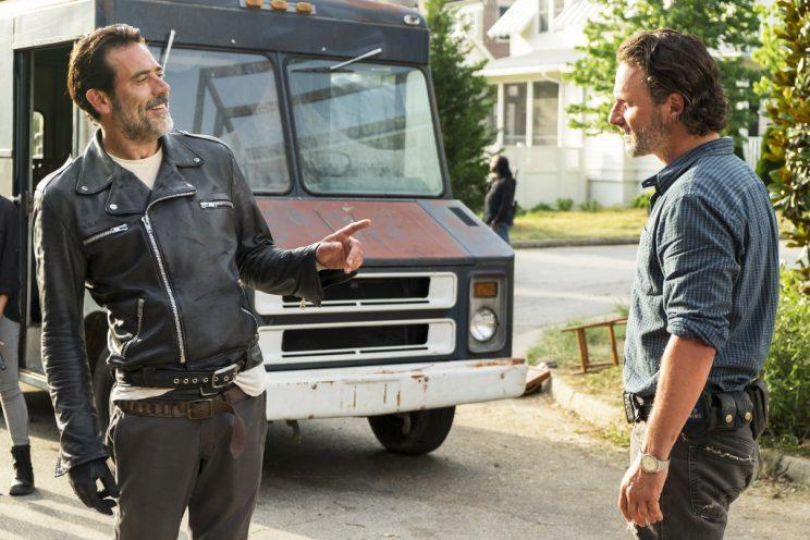 Andrew Lincoln as Rick Grimes and Jeffrey Dean Morgan as Negan (Credit: Gene Page/AMC)