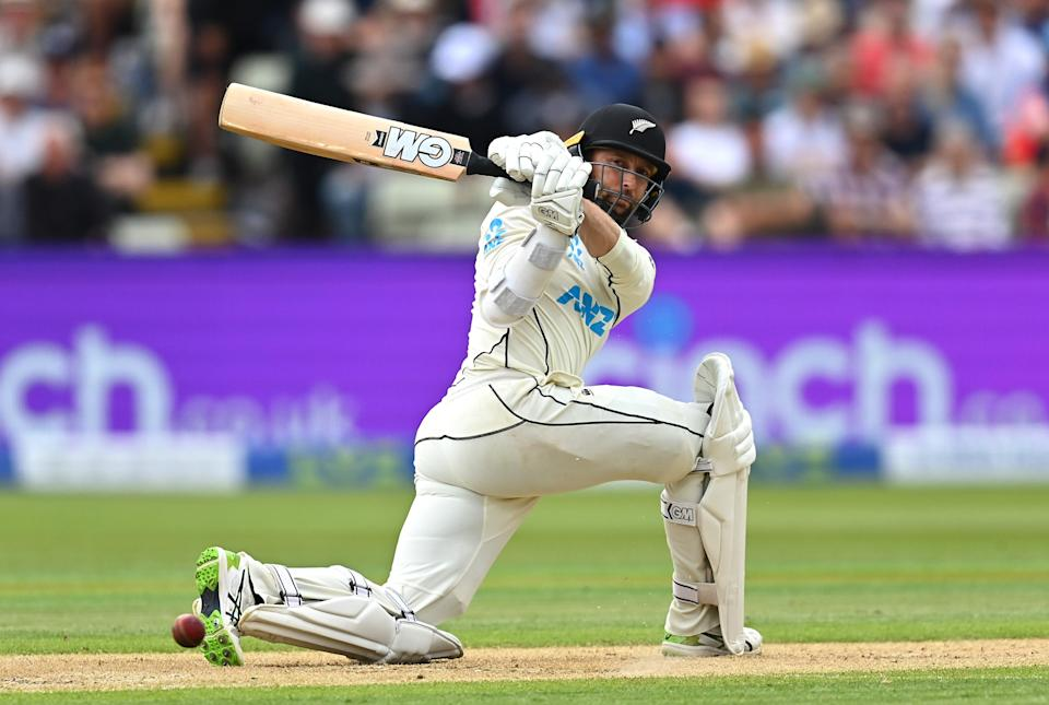 Devon Conway of New Zealand bats during day two (Getty)