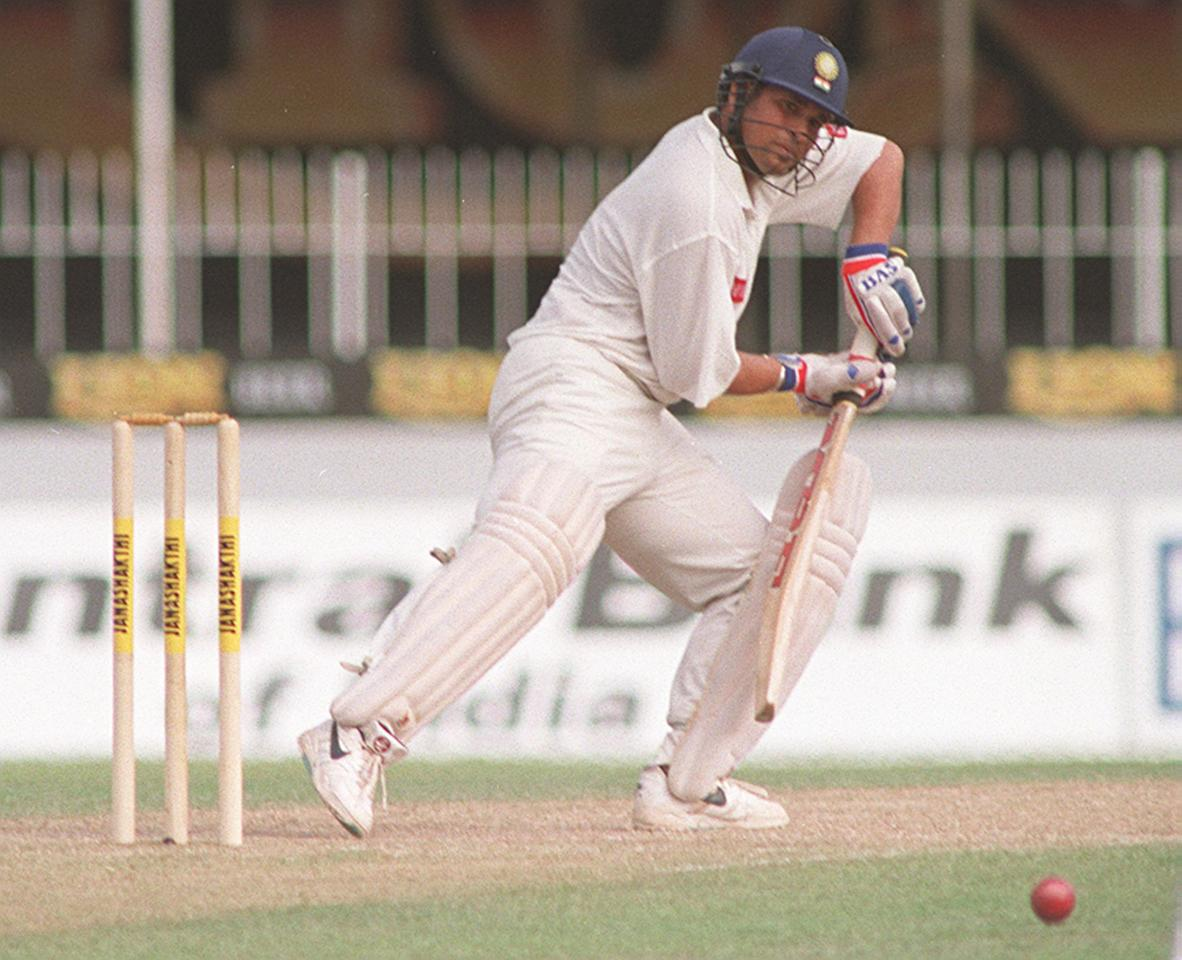 Indian skipper Sachin Tendulkar edges the ball 10 August on the second day of the second test against Sri Lanka to bring up the Indian score to 226 for four at stumps and his own score to 117. Sri Lanka were all out for 332.
