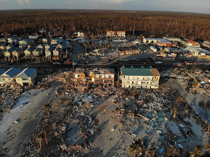 An aerial view of the damage in Mexico Beach, Florida.  (Joe Raedle via Getty Images)