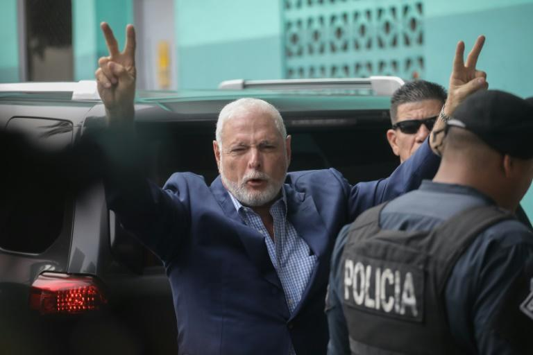 Panama's former president Ricardo Martinelli arrives at the judicial office in Panama City on August 9 (AFP Photo/Mauricio VALENZUELA)