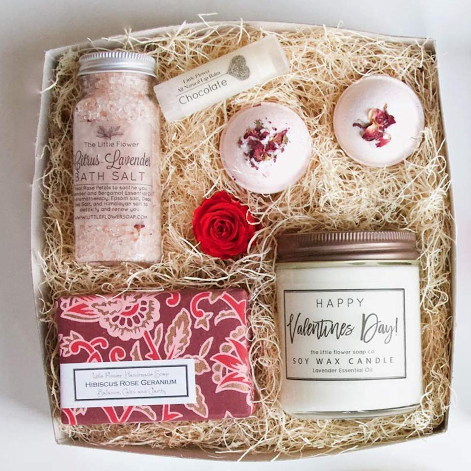 """<p>As its name implies, this package comes with everything you need for an evening of relaxation and self-care at home, including a soy candle, lavender bath salts, and rose bath bombs. No expensive trip to the spa necessary! </p> <p><strong>To buy</strong>: $38; <a href=""""https://www.amazon.com/Valentines-Luxury-Relaxing-Lavender-Essential/dp/B07MCDZ5WF/ref=as_li_ss_tl?ie=UTF8&linkCode=ll2&tag=rsggvalentinesgiftsyourselfjmattern0120-20&linkId=30beda77aa144a3c2d5624c471bea7cc&language=en_US"""">amazon.com</a>.</p>"""