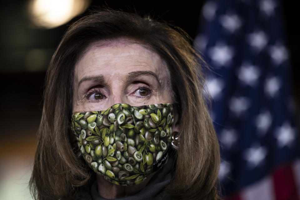 U.S. Speaker of the House Rep. Nancy Pelosi (D-CA) speaks at a weekly news conference at the U.S. Capitol on February 18, 2021 in Washington, DC. (Tasos Katopodis/Getty Images)