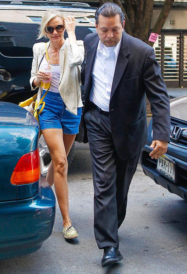 """<p class=""""MsoNormal"""">  </p><p class=""""MsoNormal"""">Cameron Diaz's lithe legs take center stage even when she's not wearing anything special and is just dressed for a little retail therapy, as she recently was for a spree at the Stella McCartney store in NYC. Sigh. What shorter-legged women wouldn't give for those gams ... (8/28/2012)</p>"""