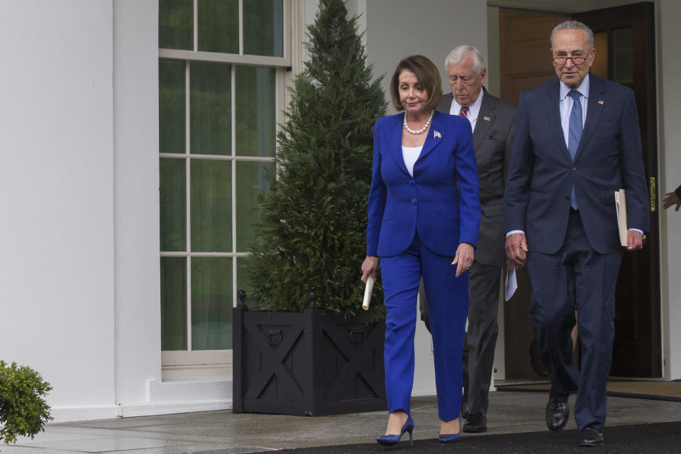 House Speaker Nancy Pelosi of Calif., left, followed by Senate Minority Leader Chuck Schumer of N.Y., right, and House Majority Leader Steny Hoyer of Md., arrive to speak with reporters after a meeting with President Donald Trump at the White House, Wednesday, Oct. 16, 2019, in Washington. (AP Photo/Alex Brandon)