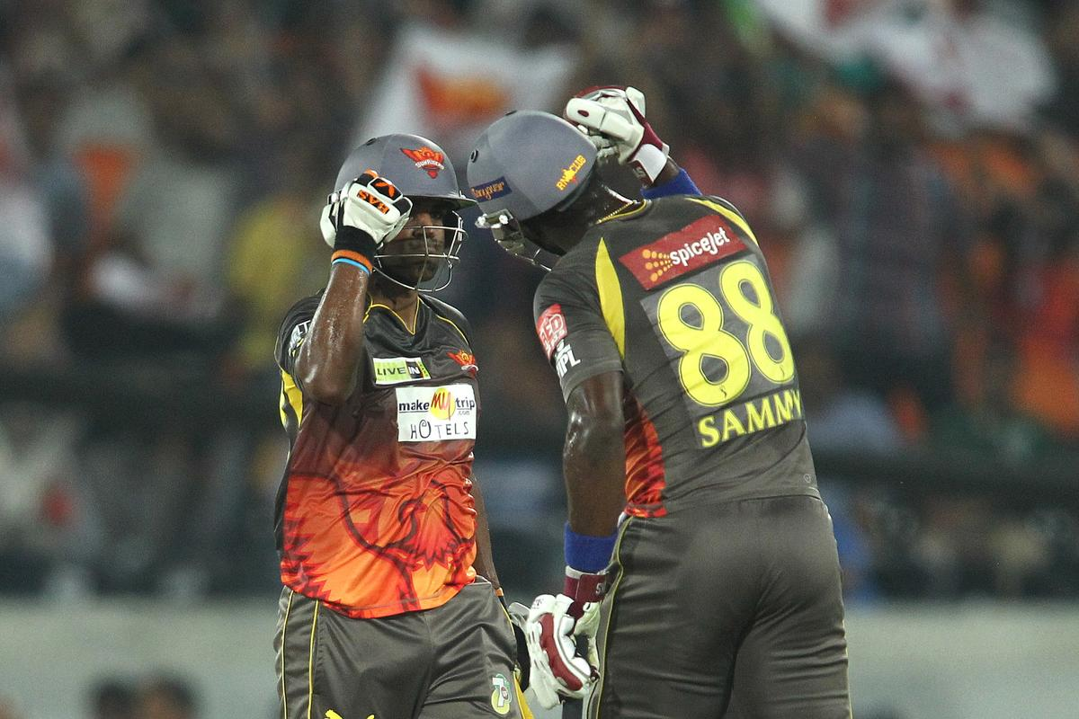 Biplap Samantray of Sunrisers Hyderabad and Darren Sammy of Sunrisers Hyderabad celebrate a boundary during match 68 of the Pepsi Indian Premier League between The Sunrisers Hyderabad and The Rajasthan Royals held at the Rajiv Gandhi International Stadium, Hyderabad  on the 17th May 2013..Photo by Shaun Roy-IPL-SPORTZPICS ..Use of this image is subject to the terms and conditions as outlined by the BCCI. These terms can be found by following this link:..https://ec.yimg.com/ec?url=http%3a%2f%2fwww.sportzpics.co.za%2fimage%2fI0000SoRagM2cIEc&t=1506047847&sig=SYLW7hgXDvXZYVjUaoIGVQ--~D