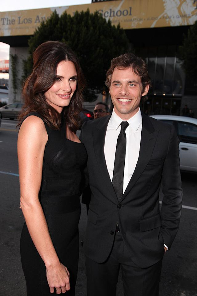 """<a href=""""http://movies.yahoo.com/movie/contributor/1800355003"""">James Marsden</a> and wife Lisa at the Los Angeles premiere of <a href=""""http://movies.yahoo.com/movie/1810077967/info"""">Death at a Funeral</a> - 04/12/2010"""