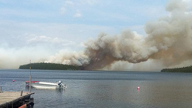 A forest fire that started near Labrador City and Wabush over the weekend continues to burn.