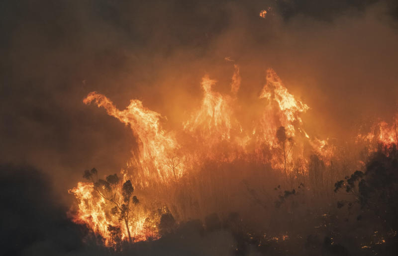 Pictured is a raging bushfire in East Gippsland.