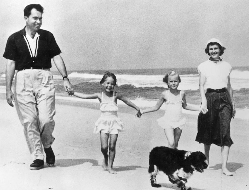 <p>Nixon was serving as vice president when this photo was snapped of him enjoying a day at the beach with his wife Pat and his daughters Julie and Tricia.</p>