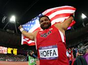 """<a href=""""http://sports.yahoo.com/olympics/track-field/reese-hoffa-1134774/"""" data-ylk=""""slk:Reese Hoffa"""" class=""""link rapid-noclick-resp"""">Reese Hoffa</a> of the United States celebrates his bronze medal in the Men's Shot Put Final on Day 7 of the London 2012 Olympic Games at Olympic Stadium on August 3, 2012 in London, England. (Photo by Alexander Hassenstein/Getty Images)"""