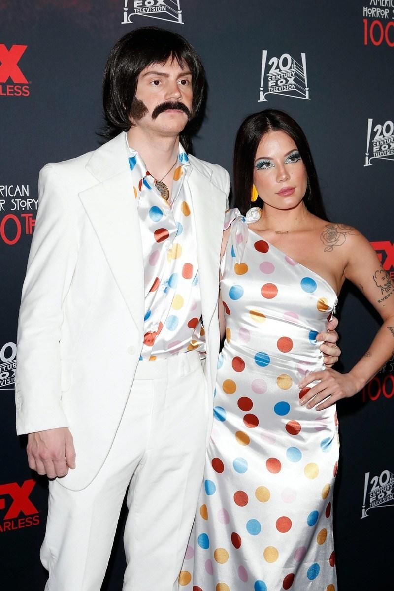 Evan Peters and Halsey as Sonny and Cher on Halloween