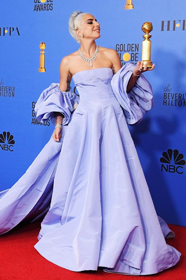 "Winter. Los Angeles. The Golden Globes. <em>A Star Is Born.</em> I don't know why I'm writing this like a telegram. Probably something to do with <strong>Lady Gaga.</strong> But this periwinkle gown was a kind of a statement of purpose as Gaga continue her greatest performance of all: her Oscars campaign, where she was nominated for best actress (she did not win but did win for best original song). It was the creation by <strong>Pierpaolo Piccioli,</strong> Valentino's creative director, and was inspired by Judy Garland's dress in the 1954 original version of the film. Its final twist was that a housekeeper at the hotel ended up putting the dress up for auction after the singer allegedly left it there. The dress was pulled <a href=""https://www.dailymail.co.uk/news/article-7640459/Lady-Gaga-Valentino-dress-pulled-auction-just-minutes-closes-bid-19K.html"">before the end of the auction</a>, when it was going for $19,000, as the ""matter"" of who the dress actually belongs to was ""being resolved between the concerned parties."""
