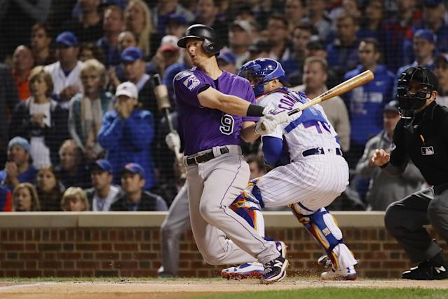"A quirky ground rule unique to Wrigley Field cost  <a class=""link rapid-noclick-resp"" href=""/mlb/players/8949/"" data-ylk=""slk:DJ LeMahieu"">DJ LeMahieu</a> an RBI in the first inning of the Rockies-Cubs Wild Card game. (Getty)"