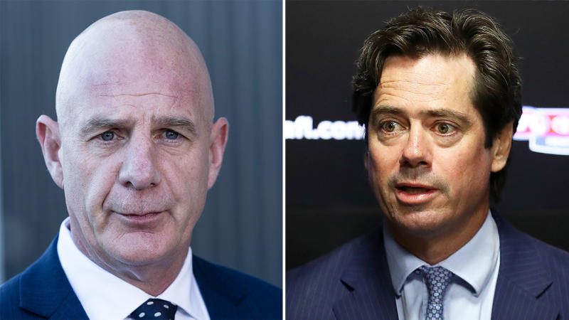 Tasmanian Premiere Peter Gutwein (pictured left) speaking to the press and AFL boss Gillon McLachlan (pictured right). (Getty Images)
