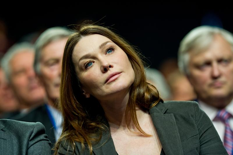Carla Bruni Sarkozy, wife of French President and candidate for the 2012 Presidential Elections Nicolas Sarkozy, attends a meeting of her husband in Bordeaux, western France, Saturday, March 3, 2012. (AP Photo/Fred Lancelot)