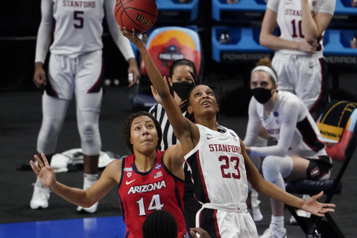 Stanford guard Kiana Williams (23) shoots over Arizona forward Sam Thomas (14) during the second half of the championship game in the women's Final Four NCAA college basketball tournament, Sunday, April 4, 2021, at the Alamodome in San Antonio. (AP Photo/Eric Gay)
