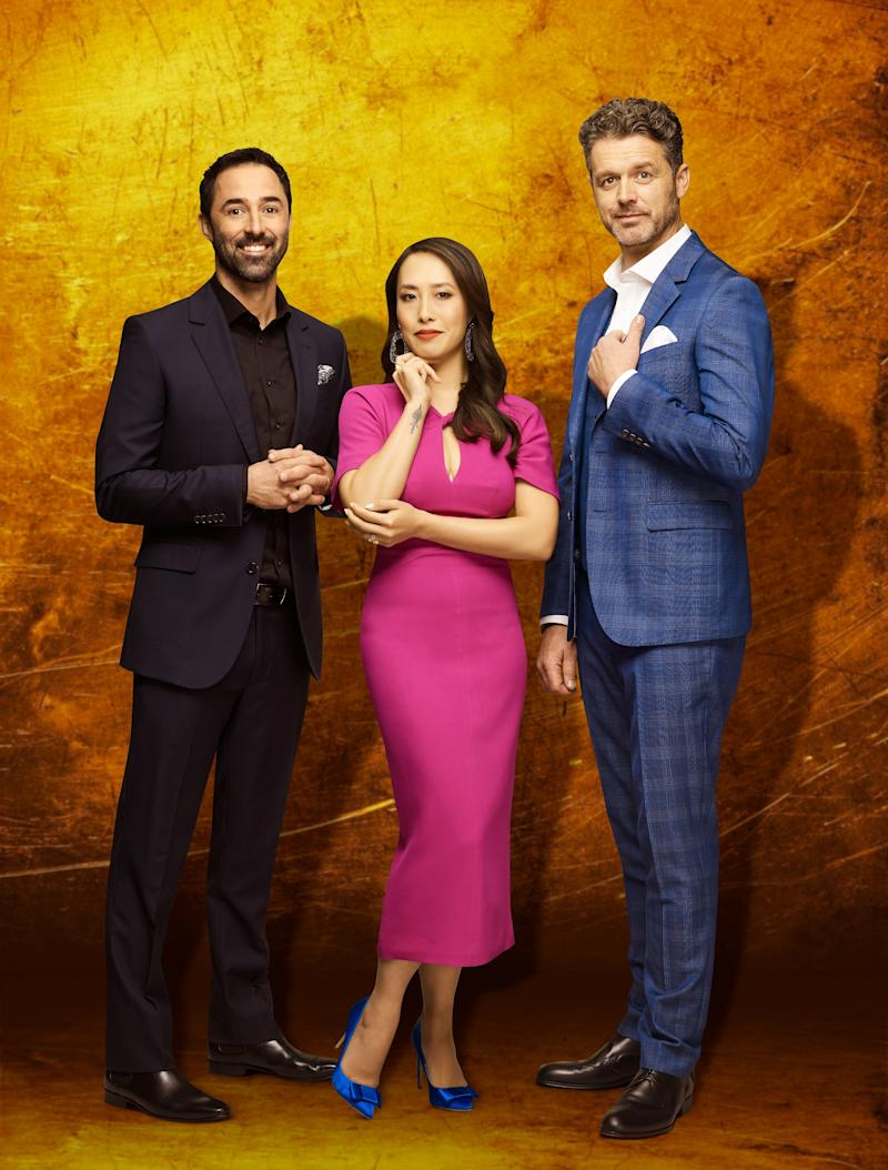 Melissa is the first ever female judge on MasterChef Australia. She's joined by Jock Zonfrillo and Andy Allen. Photo: Channel 10