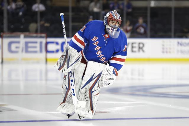 New York Rangers goaltender Igor Shesterkin warms up for the team's NHL hockey game against the Colorado Avalanche on Tuesday, Jan. 7, 2020, in New York. Shesterkin is set to make his NHL debut.(AP Photo/Frank Franklin II)