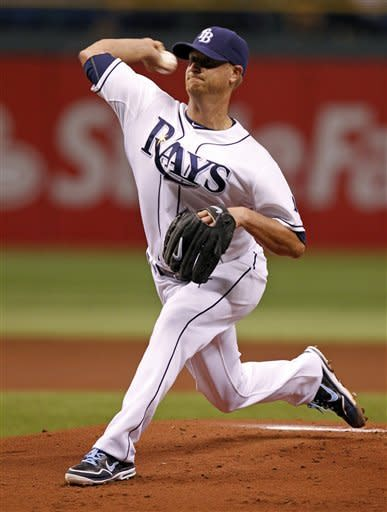Tampa Bay Rays starting pitcher Alex Cobb throws during the first inning of a baseball game against the Seattle Mariners Saturday, July 21, 2012, in St. Petersburg, Fla. (AP Photo/Mike Carlson)