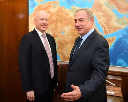 Jason Greenblatt, U.S. President Trump's Middle East envoy meets Israeli PM Benjamin Netanyahu at the Prime Minister's Office in Jerusalem