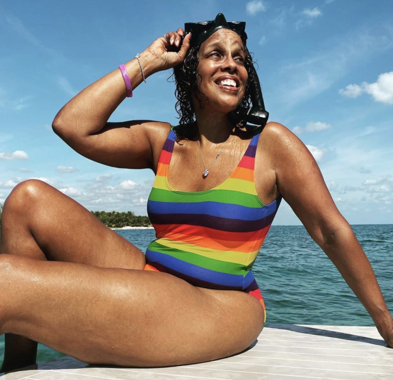King proudly showed off her curves in a striped one-piece suit. (Photo: Gayle King Instagram)