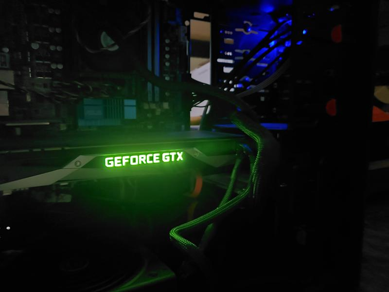 Close-up of glowing logo for an NVIDIA Geforce GTX graphics card inside a computer in a darkened room engaging in cryptocurrency mining, including for Bitcoin, San Ramon, California, October 23, 2019. (Photo by Smith Collection/Gado/Getty Images)