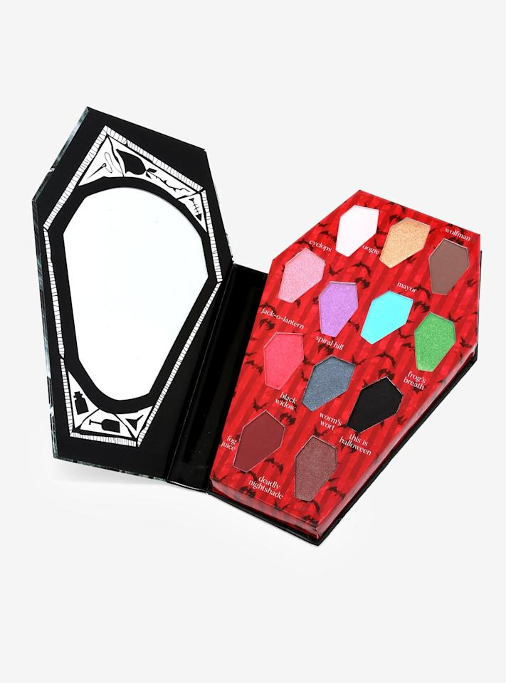 "<p>This coffin-shaped <a href=""https://www.hottopic.com/product/the-nightmare-before-christmas-master-of-fright-eyeshadow-palette/11935789.html?cgid=pop-culture-shop-by-license-nightmare-before-christmas#sz=188&amp;start=76"" target=""_blank"" class=""ga-track"" data-ga-category=""Related"" data-ga-label=""https://www.hottopic.com/product/the-nightmare-before-christmas-master-of-fright-eyeshadow-palette/11935789.html?cgid=pop-culture-shop-by-license-nightmare-before-christmas#sz=188&amp;start=76"" data-ga-action=""In-Line Links""><b>The Nightmare Before Christmas</b> of Fright Eye Shadow Palette</a> ($14, originally $17) is frightfully cute.</p>"