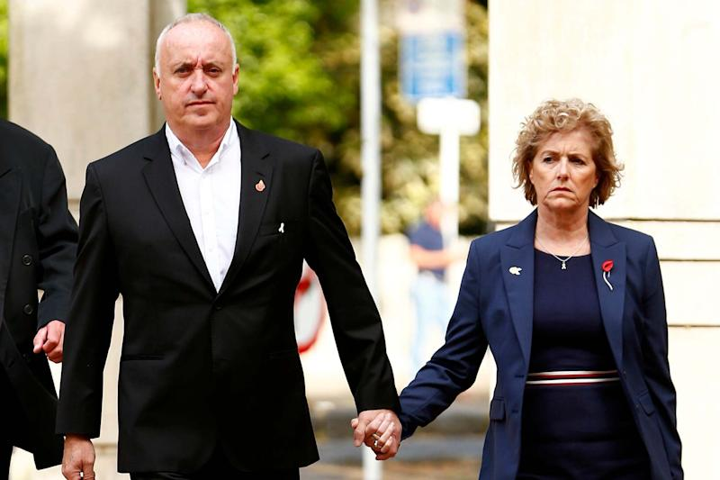 The parents of Grace Millane, David and Gillian Millane arrive with Detective Inspector Scott Beard (Getty Images)