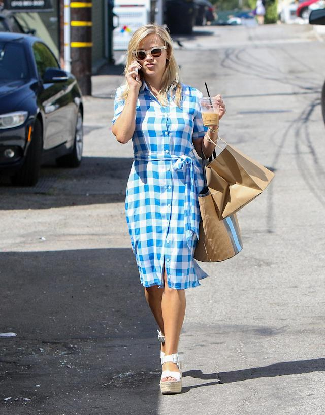 Reese Witherspoon in Draper James. (Photo: Splash News)