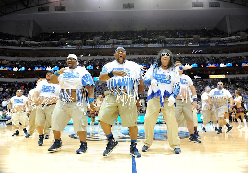 The Mavs ManiAACs perform during an NBA game between the Golden State Warriors and the Dallas Mavericks at the American Airlines Center in Dallas, TX on April 1, 2014.   Albert Pena—Icon SMI/Corbis via Getty Images