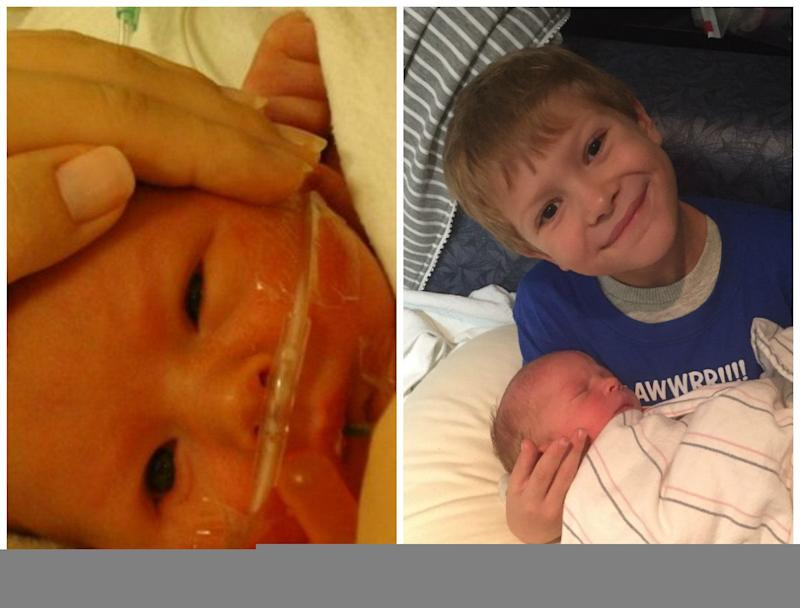Here is a photo of my son who was born premature at 36 weeks in 2010, and him last October with his new baby brother.<br /><br /><i>-- Piper L. Hall</i>
