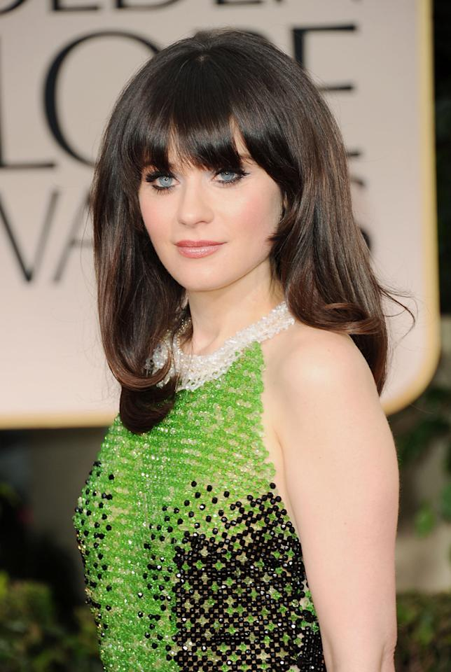 WORST: Zooey Deschanel arrives at the 69th Annual Golden Globe Awards in Beverly Hills, California, on January 15.