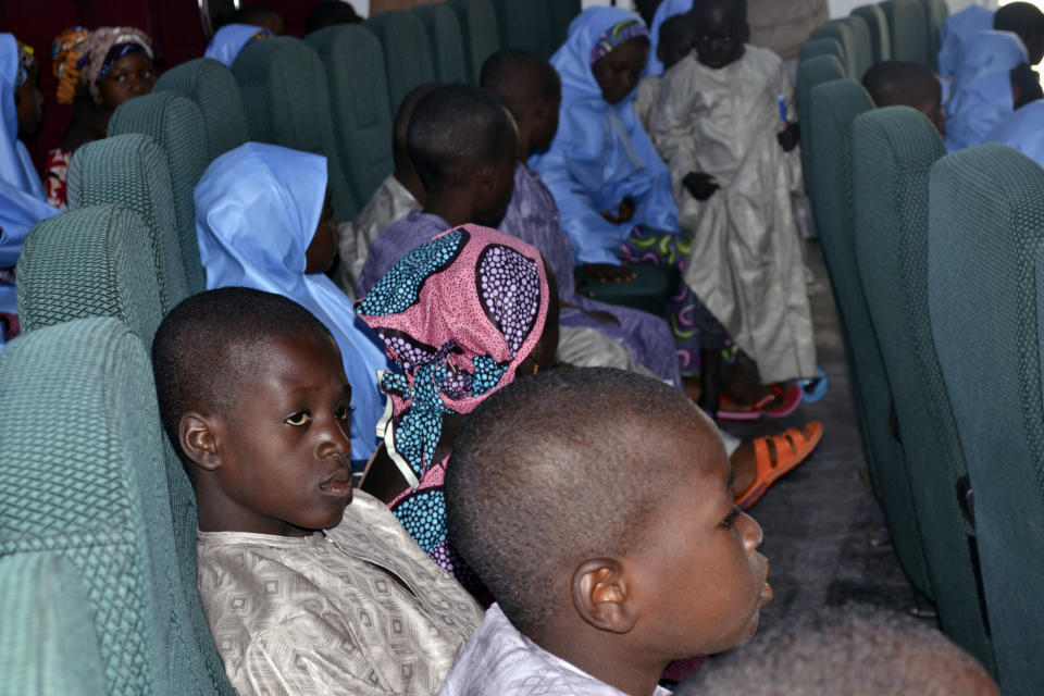 Some freed students from the Salihu Tanko Islamic School before a meeting with Niger state governor in Minna, Nigeria, Friday, Aug. 27, 2021. A school official in northern Nigeria says gunmen have released some of the more than 100 children who had been abducted back in May. The kidnapping victims from the Salihu Tanko Islamic School in Niger state had included children as young as 5 years old. (AP Photo)