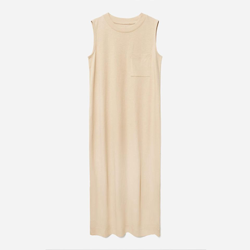 """<p><strong>everlane</strong></p><p>everlane.com</p><p><a href=""""https://go.redirectingat.com?id=74968X1596630&url=https%3A%2F%2Fwww.everlane.com%2Fproducts%2Fwomens-long-weekend-tee-dress-khaki&sref=https%3A%2F%2Fwww.seventeen.com%2Ffashion%2Fg37090791%2Feverlane-summer-sale-best-items%2F"""" rel=""""nofollow noopener"""" target=""""_blank"""" data-ylk=""""slk:Shop Now"""" class=""""link rapid-noclick-resp"""">Shop Now</a></p><p><strong><del>$45</del> $36</strong></p><p>Between the ultra-soft cotton and the relaxed fit, this Everlane staple is a step up from a typical t-shirt dress.</p>"""
