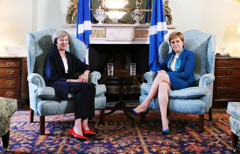 <strong>Prime Minister Theresa May (left) meeting with Scotland's First Minister Nicola Sturgeon at Bute House in Edinburgh</strong> (PA Wire/PA Images)